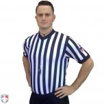 "Smitty 1"" Stripe Body Flex V-Neck Referee Shirt with USA Flag"