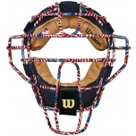 Wilson MLB Stars and Stripes Dyna-Lite Steel Umpire Mask with Navy and Tan