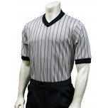 Smitty Grey V-Neck Performance Mesh Referee Shirt with Black Pinstripes