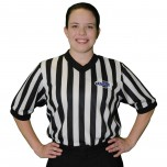 "Kentucky (KHSAA) 1"" Stripe Body Flex Women's V-Neck Side Panel Referee Shirt"
