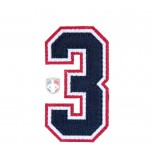 "3"" Navy on White on Red Tackle Twill Number"
