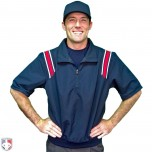 Smitty Traditional Half-Zip Short Sleeve Umpire Jacket - Navy and Red