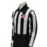 "Smitty 2 1/4"" Stripe Long Sleeve Football Referee Shirt with CHEST USA FLAG"