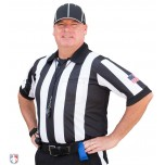 "Smitty 2 1/4"" Stripe Short Sleeve Football Referee Shirt with SLEEVE USA FLAG"
