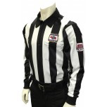 "Nebraska (NSAA) 2 1/4"" Stripe Long Sleeve Football Referee Shirt with NHSOA Logo"