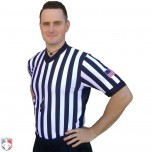 "Smitty 1"" Stripe Body Flex V-Neck Referee Shirt with Side Panels & USA Flag"
