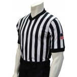 "Smitty Dye Sublimated Side Panel 1"" Stripe V-Neck Referee Shirt with USA FLAG"