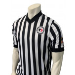 "Iowa Girls (IGHSAU) 1"" Stripe Body Flex Men's V-Neck Referee Shirt with Side Panels"