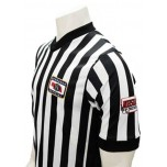 "Nebraska (NSAA-NHSOA) 1"" Stripe Body Flex Men's V-Neck Referee Shirt with NHSOA Logo & Side Panels"