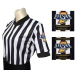 "Indiana (IHSAA) 1"" Stripe Body Flex Women's V-Neck Referee Shirt"