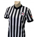 "Iowa Girls (IGHSAU) 1"" Stripe V-Neck Women's Referee Shirt with Side Panels"