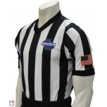 "Georgia (GHSA) 2"" Stripe Body Flex Men's V-Neck Basketball Referee Shirt"