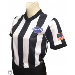 "Georgia (GHSA) 2"" Stripe Women's V-Neck Basketball Referee Shirt"