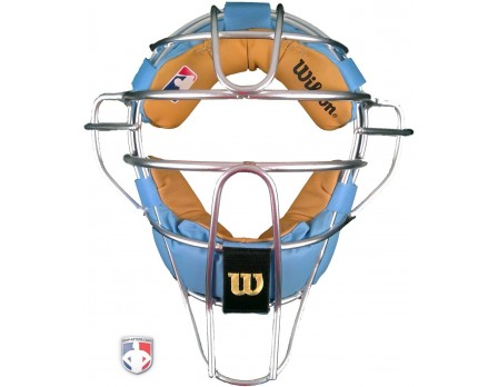 Wilson Silver Dyna Lite Aluminum Mask with Blue and Tan Memory Foam Pads