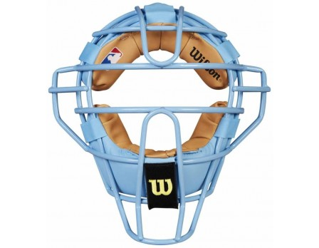 A3009-BL/TN Wilson MLB Sky Blue Dyna-Lite Steel Umpire Mask with Sky Blue and Tan