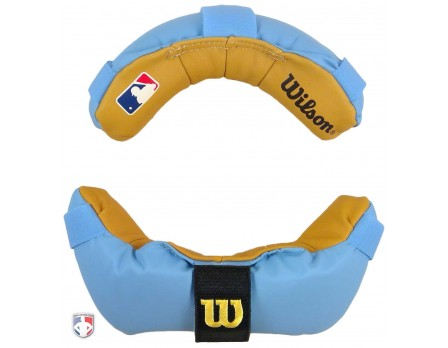 A3817-MEM-BL/TN Wilson MLB Memory Foam Umpire Mask Replacement Pads - Sky Blue and Tan