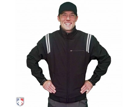 ADM330-BK/WH Adams Major League Style Fleece Lined Umpire Jacket - Black and White Worn Front View