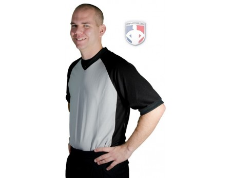 "BK-207 Smitty Grey V-Neck Referee Shirt With Black Raglan Sleeves and 3"" Side Panel"