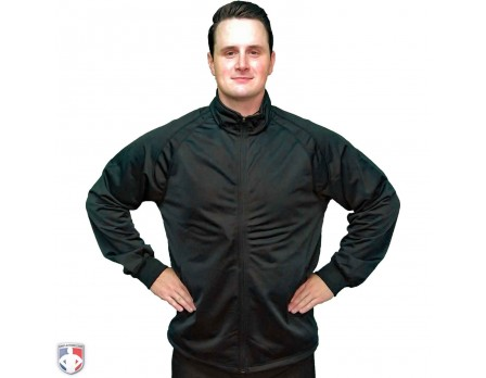 BK-232 Smitty Track Style Basketball / Wrestling Referee Jacket - Black Worn Front View