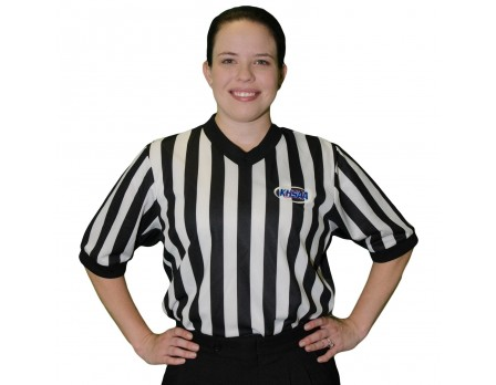 "USA212KY-FLEX Kentucky (KHSAA) 1"" Stripe Body Flex Women's V-Neck Side Panel Referee Shirt"