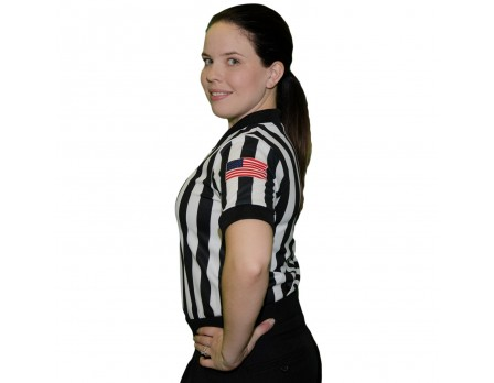 "Smitty Dye Sublimated Women's 1"" Stripe V-Neck Referee Shirt with USA FLAG"