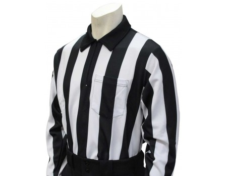 "FB118 Smitty 2"" Stripe Heavyweight Interlock Long Sleeve Football Referee Shirt"