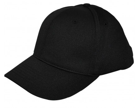 HT306-BK Smitty Flex Fit Umpire Cap Black 6-Stitch Front Angled View