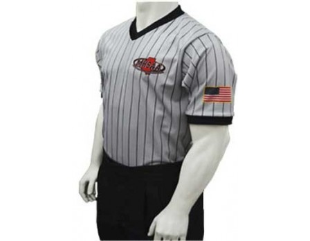USA285MS-FLEX Mississippi (MHSAA) Men's Body Flex Grey V-Neck Referee Shirt