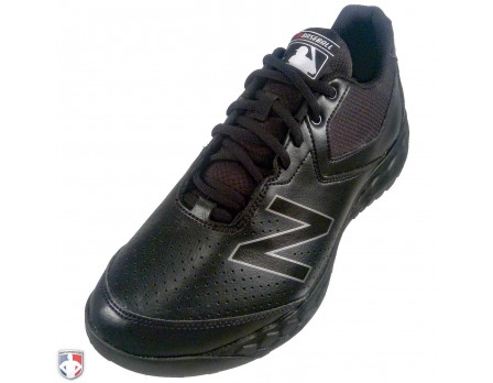 MU950BK3 New Balance V3 MLB All-Black Low-Cut Umpire Base Shoes Outside Front Angled View