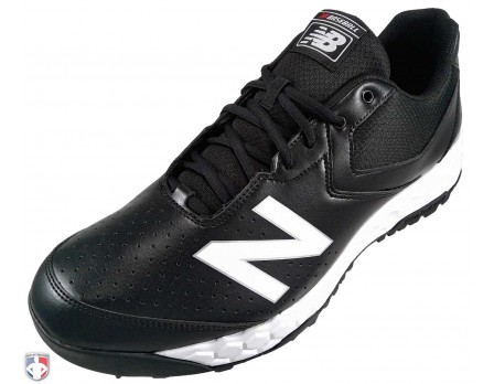 MU950XT3 New Balance V3 Black & White Low-Cut Umpire Base Shoes Outside Front Angled View