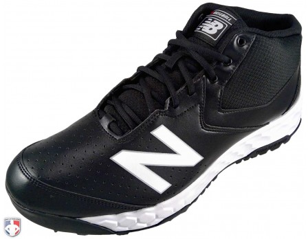 MUM950T3 New Balance V3 Black & White Mid-Cut Umpire Base Shoes Outside Front Angled View