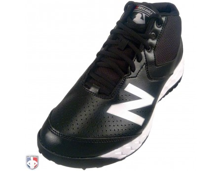 MUM950W3 New Balance V3 MLB Black & White Mid-Cut Umpire Base Shoes Outside Front Angled View
