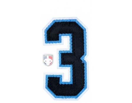 "3"" Black on Light Blue on White Tackle Twill Number"