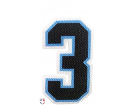"3"" Black on Light Blue on White Precision-Cut Number"