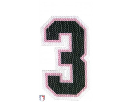 "N3-SUB-BPKW 3"" Precision-Cut Number - Black on Pink on White"