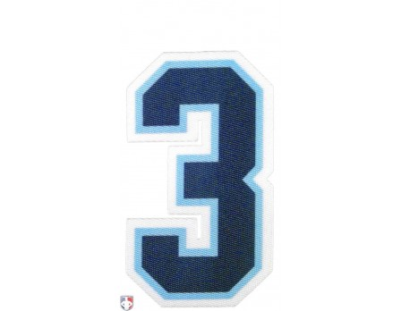 "N3-SUB-NPBW 3"" Navy on Powder Blue on White Precision-Cut Number"