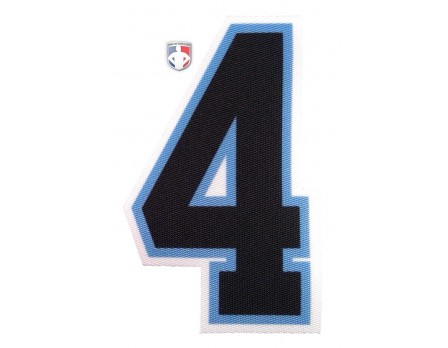 "4"" Black on Light Blue on White Precision-Cut Number"