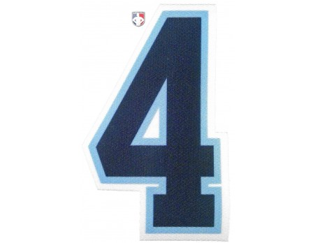 "4"" Navy on Powder Blue on White Precision-Cut Number"