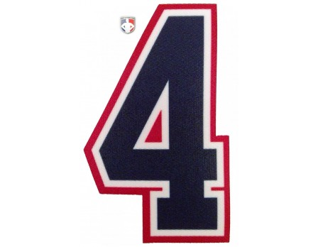 "N4-SUB-NWR 4"" Precision Cut Umpire Numbers - Navy on White on Red"