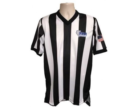 "Nevada (NIAA) 2 1/4"" Stripe Body Flex Men's V-Neck Referee Shirt"