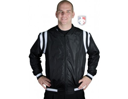 S227-BK Collegiate Style Basketball Referee Jacket - Black with White Trim