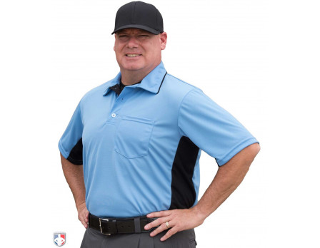 S312-PB-Smitty Major League Replica Umpire Shirt - Sky Blue With Black