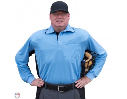 Smitty Major League Replica Long Sleeve Umpire Shirt - Sky Blue with Black