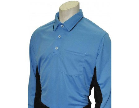 S313-SB Smitty MLB Replica Long Sleeve Umpire Shirt - Sky Blue with Black