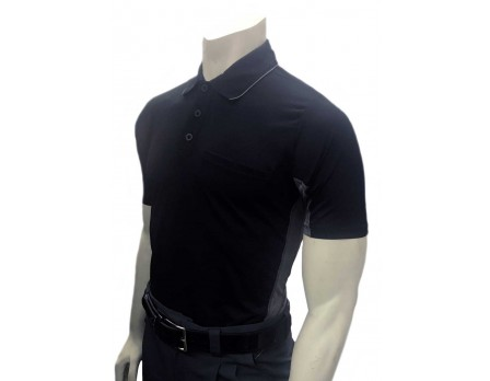 S314-BK Smitty V2 Major League Replica Umpire Shirt - Black with Charcoal Grey