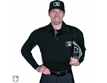 S315-MiLB-BK Smitty MiLB Long Sleeve Umpire Shirt - Black with Charcoal Grey Worn Front View