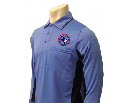 NJCAA Region XIV Smitty Long Sleeve Umpire Shirt - Sky Blue with Black