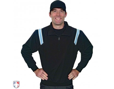 S320-BKPB Smitty Traditional Half-Zip Umpire Jacket - Black and Powder Blue Front View