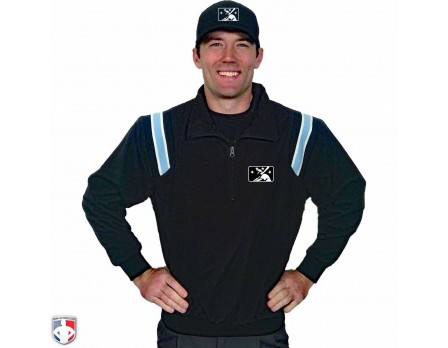 S320-MiLB-MiLB Smitty Traditional Half-Zip Umpire Jacket - Black With Powder Blue