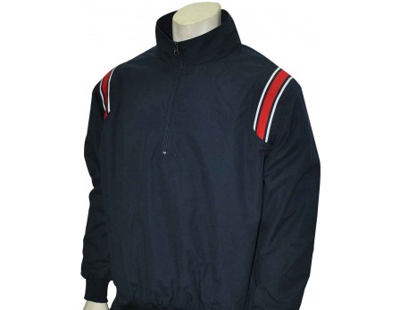 S320-N/R Smitty Traditional Half-Zip Umpire Jacket - Navy and Red Front View